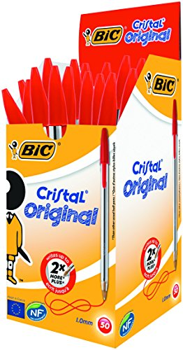 BIC Kugelschreiber Cristal Medium, 50 Kulis in Rot, Strichstärke 0,4 mm