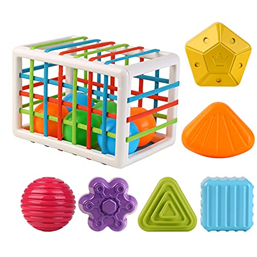 Baby Shape Sorting Toy Sensory Shape Sorting Toys with Elastic Bands Colorful Shapes Sorter Sorting for Ages 12 Months and Up(12PCS)