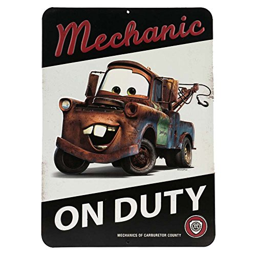 Open Road Brands Disney Cars Tow Mater Mechanic On Duty Embossed Metal Sign