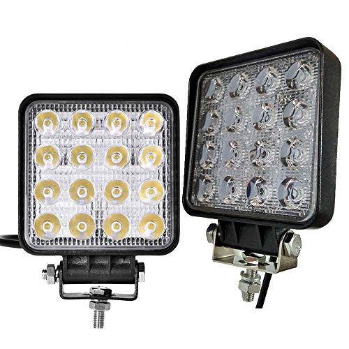 2x48w Focos LED Tractor, 3800LM Faros Trabajo LED 12V-24V Barra LED IP67 Impermeable Luz de Niebla Para Offroad SUV ATV UTV lámpara de trabajo Tractor Excavadora Camión Coche - Garantía de 2 años