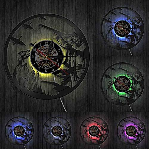 XYLLYT Caza Colgante de Pared Artista Cueva decoración Reloj de Pared Hombre Cazador Pistola y Perro Pato Caza Disco de Vinilo Reloj de Pared Regalo de Cazador