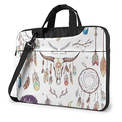Ethnic Bull Skull Laptop Carrying Case Shoulder Bag Briefcase W/Strap Women Men 13'