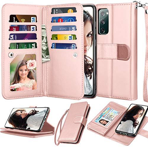 Njjex Galaxy S20 FE 5G Hülle, für Samsung S20 Fan Edition/S20 FE 5G Wallet Hülle, [9 Kartenfäche] PU Leder ID Kredithalter Folio Flip [abnehmbar] Kickstand Magnetische Handy-Cover und Lanyard [Rose Gold]