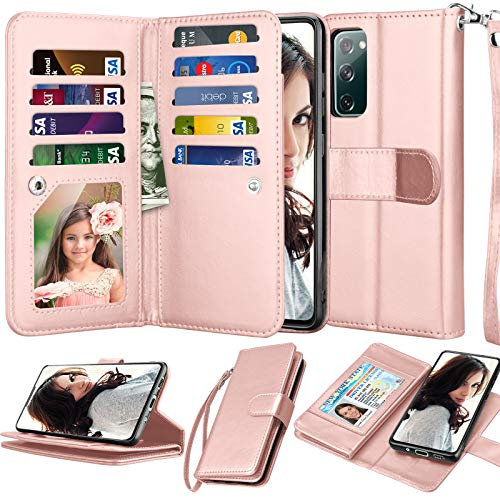 Njjex Galaxy S20 FE 5G Case, For Samsung S20 Fan Edition/ S20 FE 5G Wallet Case, [9 Card Slots] PU Leather ID Credit Holder Folio Flip [Detachable] Kickstand Magnetic Phone Cover & Lanyard [Rose Gold]
