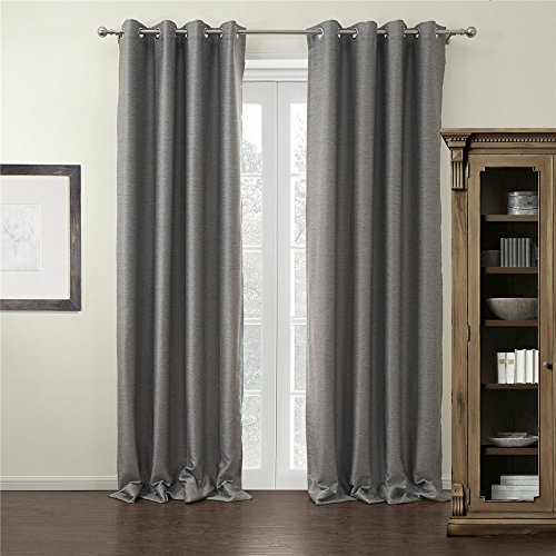 """IYUEGO Modern Grey Curtain Solid Grommet Top Blackout Curtain Draperies with Multi Size Customs 72"""" W x 102"""" L (Set of 1 Panel)"""