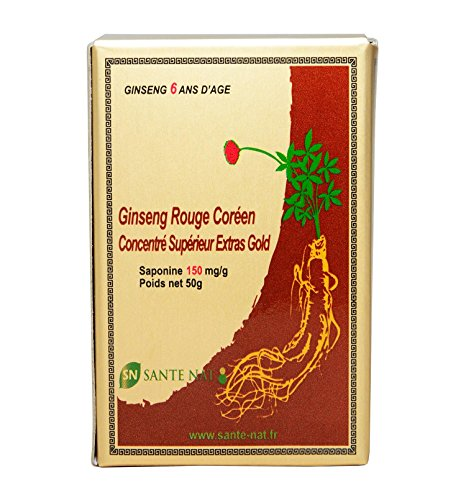 GINSENG ROUGE Coréen 50G - Extrait Concentré 6 ans d'âge - Saponine Sup 150mg, Ginsenosides Rg1+Rb1+Rg3 = 15mg/g