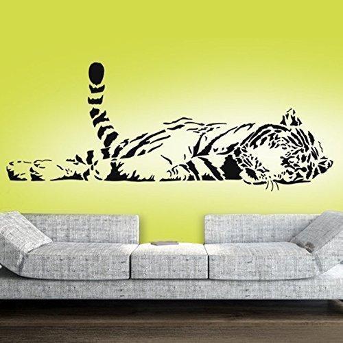 Grandora Wandtattoo Tiger liegend XXL I schwarz (BxH) 147 x 58 cm I Wohnzimmer Schlafzimmer Kinderzimmer Sticker Aufkleber Wandaufkleber Wandsticker W5103