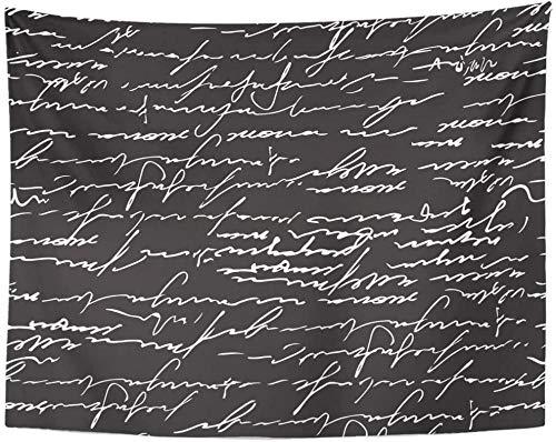 Tapiz Negro Escribir Caligrafía abstracta Patrón de texto con escritura antigua Cursiva Correo tapices Colgante de pared para sala de estar 150x100cm/59x39inchch