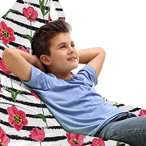 ABAKUHAUS Blumen Unicorn Toy Bag Lounger Stuhl, Tulpe-Blumen-Holzkohle-Streifen, Hochleistungskuscheltieraufbewahrung mit Griff, Dunkle Koralle und Olivgrün