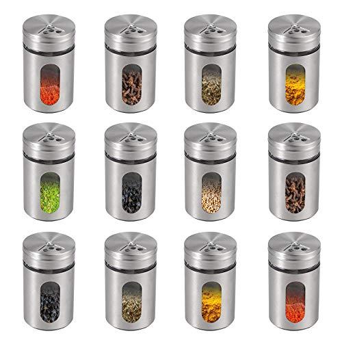 Lot de 12 pots à épices en acier inoxydable 304