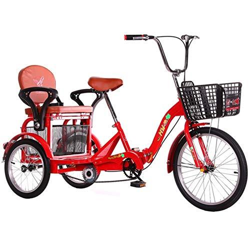 ZNND Bicicletas reclinadas Bicicletas De 3 Ruedas Triciclo para Adultos Pedales para Personas Mayores 20 Pulgadas Freno Doble Trike con Cesta Gran Tamaño para Recreación Compras (Color : Red)