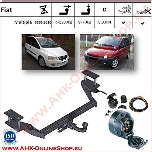 ATTELAGE avec faisceau 7 broches | Fiat Multipla de 1998 à 2004 / crochet «col de cygne» démontable avec outils