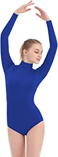 SUPRNOWA Women's Turtleneck Lycra Spandex Long Sleeve Leotard