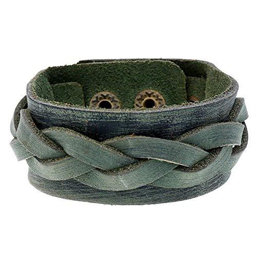 Gymqian Retro Ethnic Braided Bracelet Jewelry Simple Men's Leather Bracelet-Retro Blue Daily wear/Black