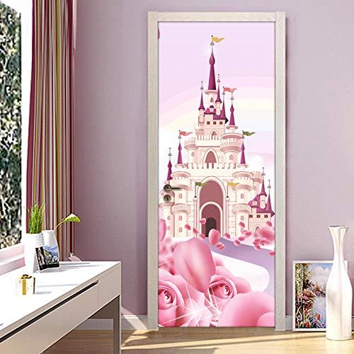 3D Deurfolie Deurfolie Cartoon Kasteel Roze Prinses Kamer Meisjes Slaapkamer Deur Sticker Muurschildering Behang Pvc Waterdicht Zelfklevend-As_Shown_95Cm_X_215Cm