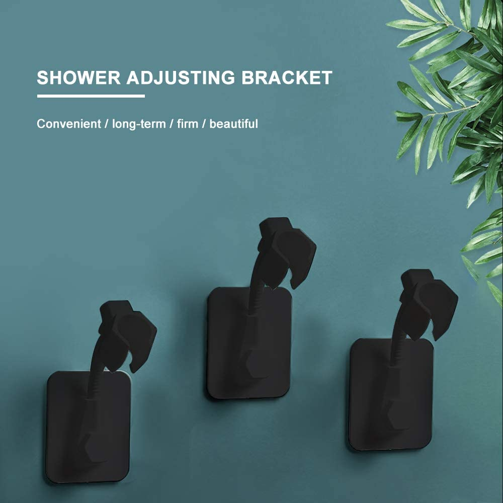 Removable No-Punching Wall Mounted Shower Head Bracket Blue Shower Head Holder 360 Degree Adjustable Handheld Showerhead Bracket Adjustable Shower Holder