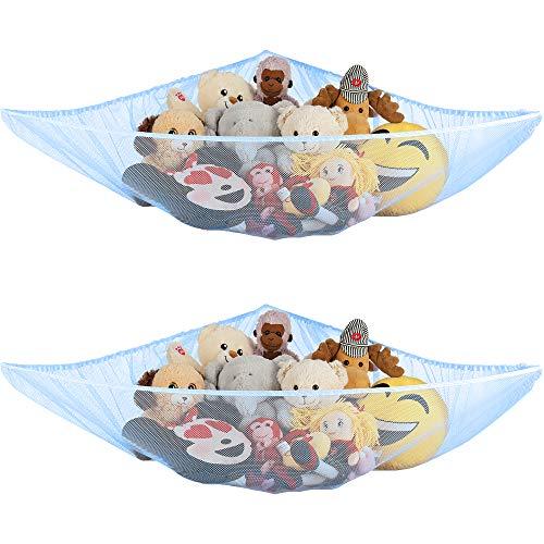 Ziz Home Stuffed Animal Hammock, 2 Pack, Nursery and Playroom Jumbo Toy Storage Net Organizer for Plush Toys, Kids Bedroom Décor, Rip-Resistant Stuff Animals Holder with Hanging Hardware (Light Blue) (Light Blue)