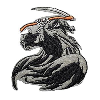 Grim Reaper Scythe Patch Tattoo Art Biker Death Embroidered Iron On Applique