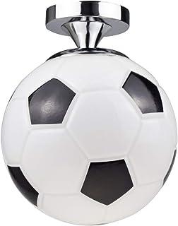 Lámpara de techo con forma de balón de fútbol, lámpara colgante E27, lámpara de techo, jaula para decoración, color negro