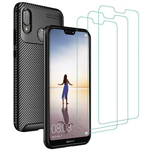 iVoler Cover per Huawei P20 Lite 2018 + 3 Pezzi Pellicola Vetro Temperato, Fibra di Carbonio Custodia Protezione in Morbida Silicone TPU Anti-Graffio e Antiurto Protettiva Case - Nero
