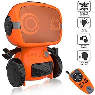 okk Smart Robot Toy for Kids, Interactive Remote Control Pet with Walkie Talkie and Wireless RC Programming Mode for Boys and Girls Holiday Educational Gift - Orange