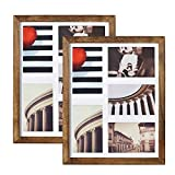 Emfogo 11x14 Picture Frame - Rustic Solid Wood and Real Glass Collage Picture Frame Display Five 4x6 with Mat or 11x14 Photo Without Mat for Wall (Carbonized Black)