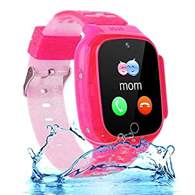 "Kids Waterproof Smartwatch Phone Girls Boys with LBS Tracker Two-Way Call SOS 1.44"" HD Touch Screen Camera Voice Chat Game Flashlight Alarm Clock Cellphone Wrist Gizmo Watch Toys Gifts (Crystal Pink) from OVV"