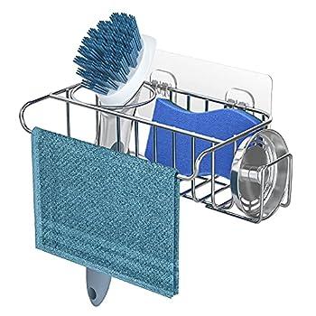 4 in 1 Sink Caddy Sponge Holder SUS304 Stainless Steel Sink Basket Brush Holder + Dish Cloth Hanger + Soap Rack + Sink Stopper Holder with 2 Installation Ways No Drilling