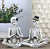 Halloween Mr. and Mrs. Meditating Skeleton Figurines, Day of the Dead Table Décor Small Statues for Halloween Party Decorations on Mantel, Shelf, Buffet Table or Centerpiece, 2 Packs
