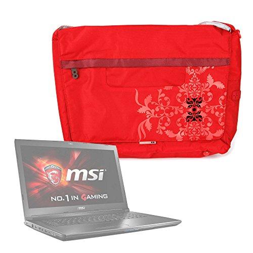 DURAGADGET Bolso Rojo con Print Floral para Portátil ASUS Aspire 5 A515-51G, ASUS K541UA-GO1279T / Lenovo V110-15, Lenovo Yoga 720-15 / MSI GL62M 7RDX-2203XESPulsera Y Asa De Hombro Ajustable