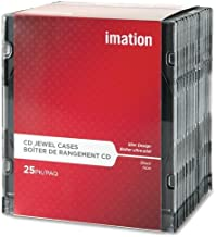 Imation 41017 CD/DVD Slim Line Jewel Case, Clear/Black, 25/Pack