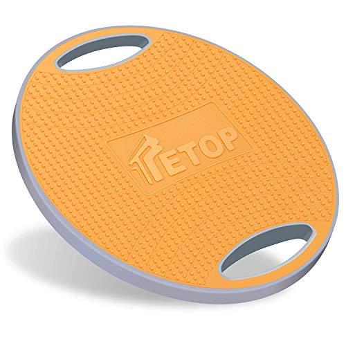 【完全滑り止め】 TETOP バランスボード バランスディスク ストレッチボード バランストレーニング 体幹トレーニング 姿勢矯正 コアマッスル インナーマッスル強化 リハビリ ケガ予防 耐荷重300キロ 42×42×7cm 持ち運びやすい オレンジ