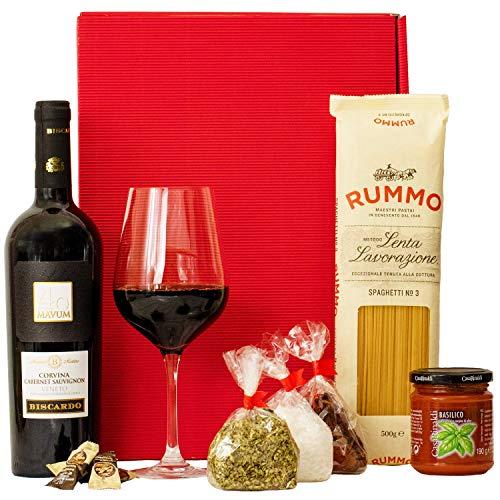 Geschenkset Rom | Italien Geschenkkorb mit Wein & italienischen Spezialitäten | Italienischer Präsentkorb gefüllt mit Rotwein und Delikatessen | Feinkost Geschenkbox für Frauen & Männer