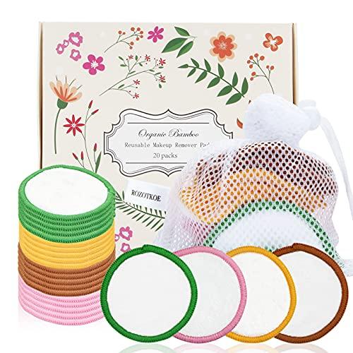 Rozotkoe - Juego de 20 almohadillas reutilizables para eliminar el maquillaje, 2 capas de algodón de bambú para limpieza facial y todo tipo de cuidado de la piel, regalo para mujer