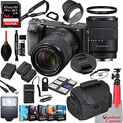 Sony Alpha a6400 Mirrorless Camera with 18-135mm Lens Bundle + Extreme Speed 64GB Memory + (28 Items) from Sony