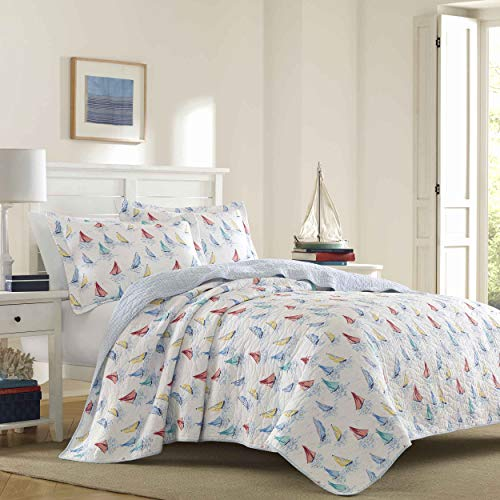 Laura Ashley Home | Ahoy Collection | Luxury Premium Ultra Soft Quilt Coverlet, Comfortable 3 Piece Bedding Set, All Season Stylish Bedspread, Full/Queen, Bright