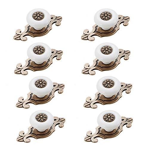 Zasiene Pomelli per Mobili Vintage 8 Pezzi Pomelli Ceramica Maniglie per Mobili da Cucina con Viti Accessori