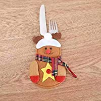 Waymeduo カトラリーホルダー クリスマスデコレーションバッグ フォークスプーンポケット クリスマスキャップ 4個 elk