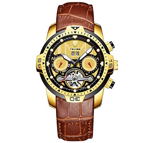 HKX Ver Relojes automáticos, Relojes mecánicos, Relojes mecánicos automáticos de Acero Inoxidable para Hombres, Relojes automáticos, Correas de Cuero Son (Masculinos y Femeninos), Oro marrón