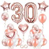 30er Cumpleaños Globos, Cumpleaños 30 Año, Decoración de Cumpleaños 30 en Oro Rosa, Number Balloons, Feliz Cumpleaños Decoración Globos 30 Años, Decoracion Cumpleaños para Niñas y Mujeres