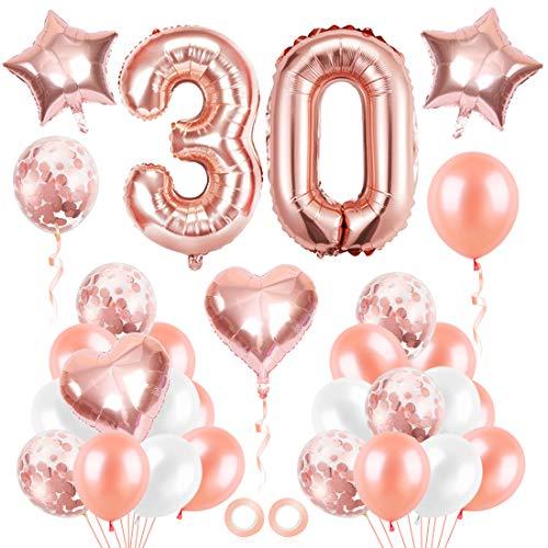 Bluelves Luftballon 30. Geburtstag Rosegold, Geburtstagsdeko 30 Jahr Mädchen, Ballon 30 Geburtstag, Riesen Folienballon 30 Rose Gold, Zahlenballon 30 Deko zum Geburtstag