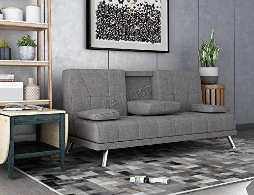 WestWood Fabric Manhattan Sofa Bed Recliner 3 Seater Modern Luxury Design Furniture Grey New
