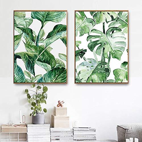 ganlanshu Pintura al óleo de HAO Zhu Árbol de Coco Tropical Planta de piña Modular Imagen Decoración de la Sala de Estar,Pintura sin Marco,60X80cmx2