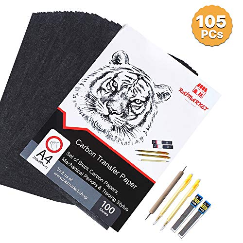 Raimarket 105 Pcs includes 100 Carbon Paper Black,5 Tracing Papers, 2 Mechanical Pencils & 1 Embossing Stylus Set for Wood Copy, Craft and Embroidery   Premium Quality Graphite & Transfer Paper