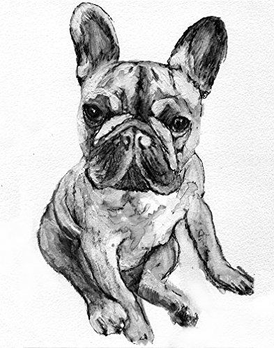 French Bulldog Wall Art, Black and White French Bulldog Puppy Owner Gift, Frenchie Dog Artwork, Frenchy Dog Art Print
