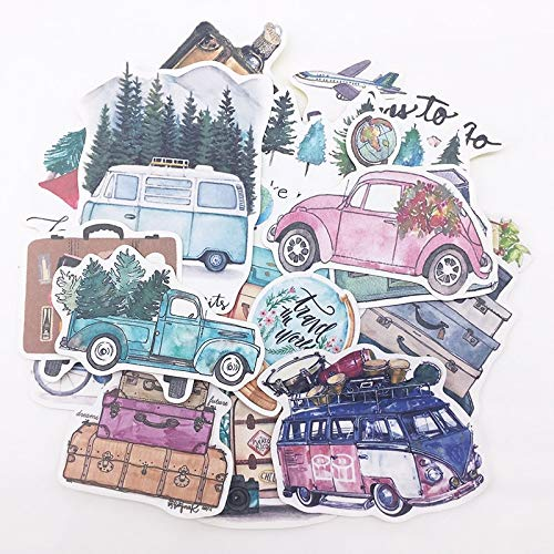 Diy Scrapbooking Handgeschilderde Stickers Plant Bomen Auto Bus Langzaam Leven Album Tijdschrift Gelukkig Planner Label Decoratie Stickers24 stks