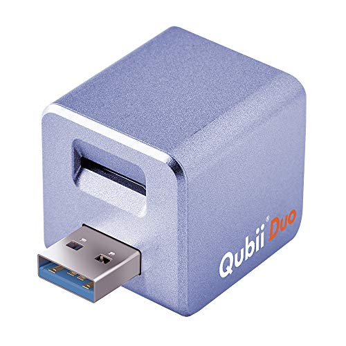 MAKTAR Qubii Duo Typ-A Automatische Backup-Laufwerk für iPhone & iPad und Android Telefon - MFi-zertifizierter Foto-Stick (MicroSD-Karte Nicht im Lieferumfang enthalten), Lila