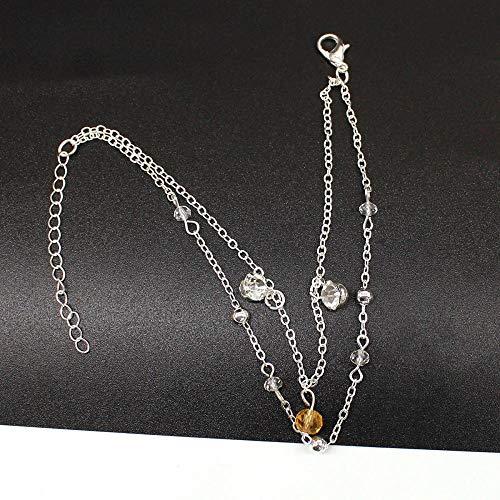 Bracelet Kristall Anhänger Doppelschicht Armband Weibliche Persönlichkeit Verstellbare Kette Armband Frauen Modeschmuck Silber
