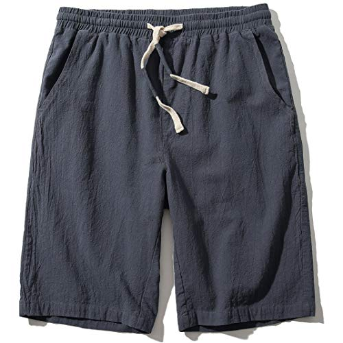 SIR7 Men's Linen Casual Classic Fit 11 Inch Inseam Elastic Waist Shorts with Drawstring Grey Large