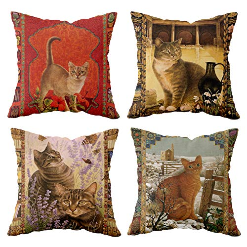 MNEUSHOP Decorative Cotton Linen Cushion Cover 45x45cm/18x18 Inch Square...